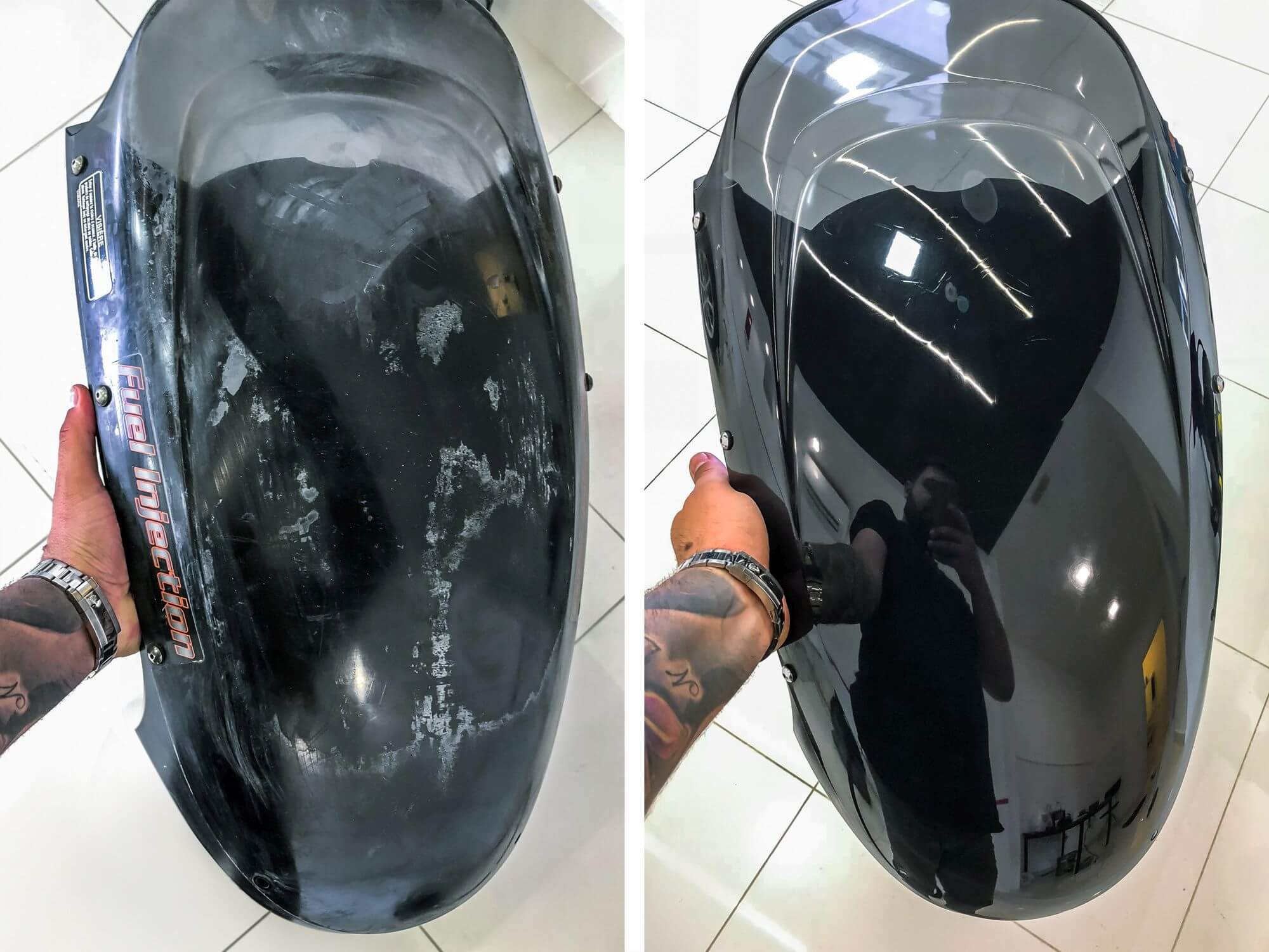 DK gallery photo 15 polished helmet before / after